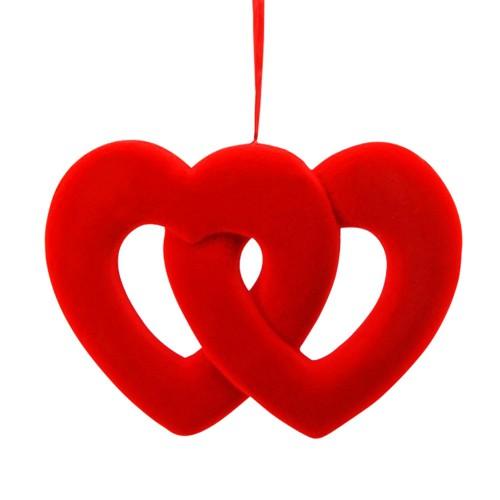 1 Adet Kırmızı İç İçe Geçmiş Kalp Şeklinde Strafor Kapı Süsü