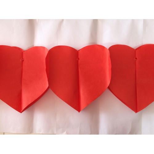 1 Adet Kırmızı Kalp Ev Bahçe Parti Süsü 3m Sevgiliye Hediye