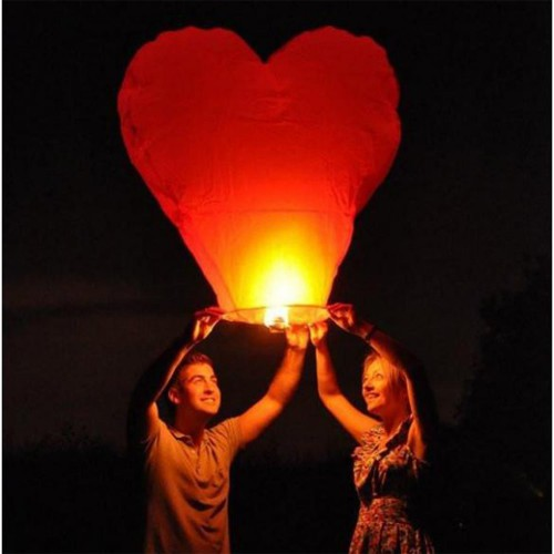 1 adet Kırmızı Kalpli Büyük Uçan Dilek Çin Feneri Balonu