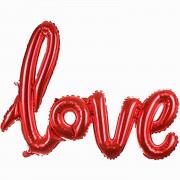 1 Adet Kırmızı Love İmzalı Folyo Balon 70cm x 36cm