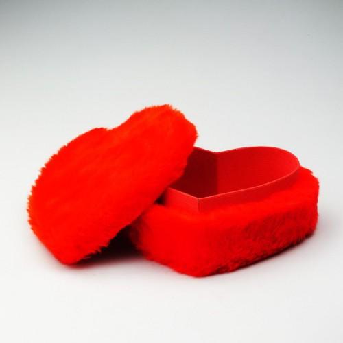 1 Adet 25cm x 30 cm Kırmızı Tüylü Kalp Kutu Yıl Dönümü