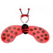 1 Adet Kırmızı Uğur Böceği Kanadı,Taç Set Kız Çocuğu Kostümü