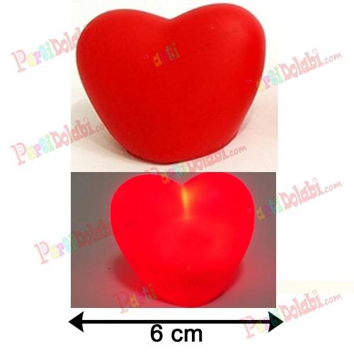 1 Adet Kırmızı Işıklı 6cm Kalp Led Romantik Dekoratif Hediyelik