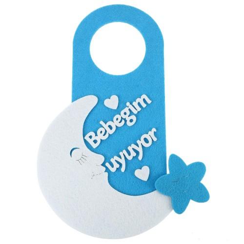 1 Adet Mavi Bebeğim Uyuyor Kapı Süsü Erkek Bebek Ev Oda Kapı Süsü