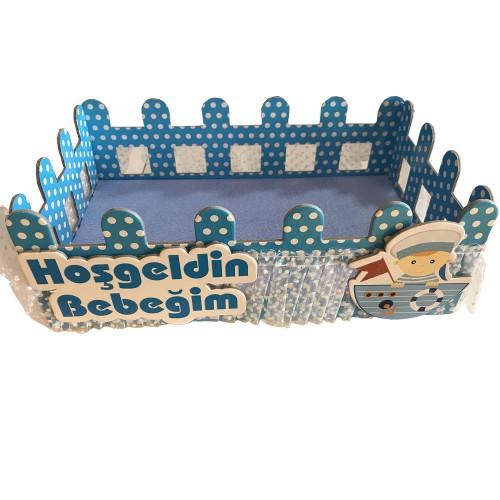 1 Adet Mavi Erkek Mevlüt Şekeri İkram Kutusu Sepeti 32cmx19cm