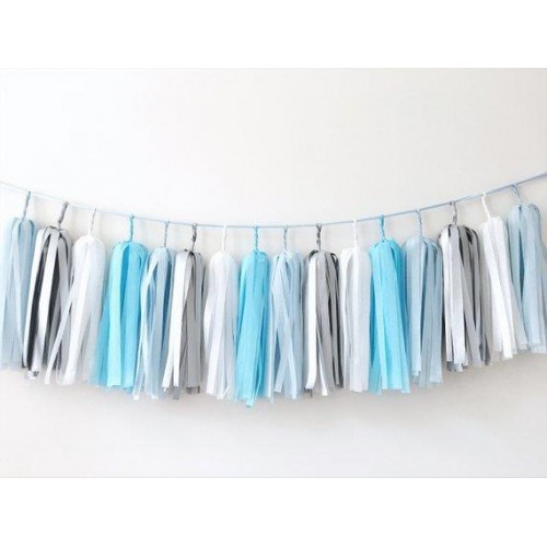 1 Adet Mavi Gümüş Beyaz Masa Önü Süs Püsküllü Parti Doğum Günü