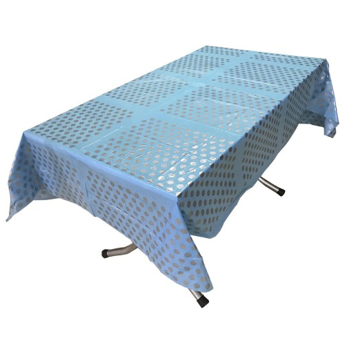 1 Adet Mavi Gri Puantiyeli Masa Örtüsü 120cmX180cm
