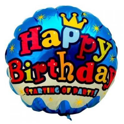 Mavi Happy Birthday Folyo Balon 45 cm Doğum Günü Helyumla Uçan