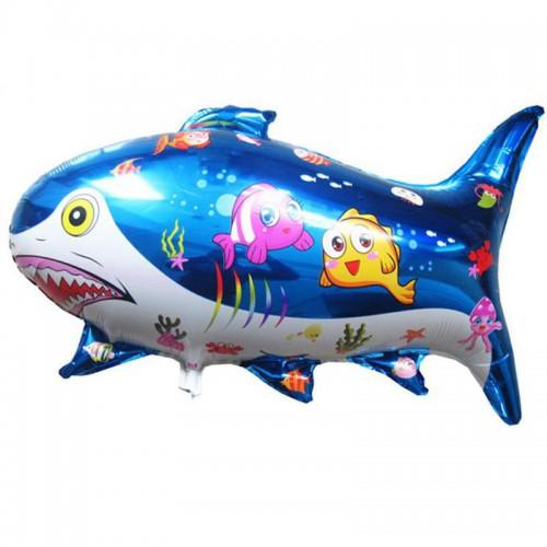 1 Adet Mavi Köpek Balığı Folyo Şekilli Uçan Balon 70cm x 50cm