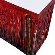 1 Adet Metalik Kırmızı Püsküllü Parti Masası Eteği