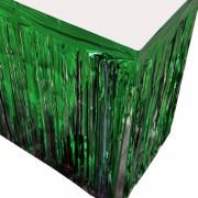 1 Adet Metalik Yeşil Püsküllü Parti Masası Eteği Örtüsü Süsü
