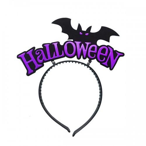 Mor,Siyah Halloween Yazılı Yarasalı Taç Halloween Parti Malzemesi