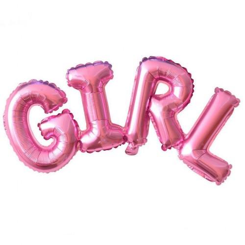 Pembe Girl Yazılı Folyo Balon, Kız Doğum Odası, Cinsiyet Partisi