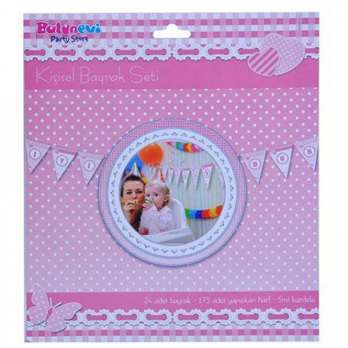 1 Adet Pembe Kişiye Özel İsim Yazılan Flama Doğum Günü Parti Malzemesi