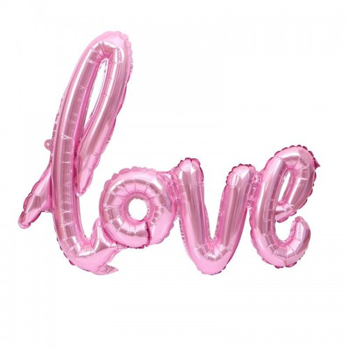 1 Adet Pembe Love İmzalı Folyo Balon 70cm x 36cm