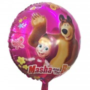 1 Adet Pembe Maşa ve Koca Ayı Folyo Şekilli Uçan Balon