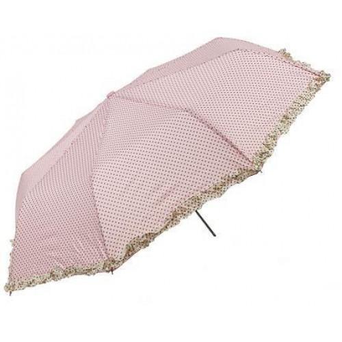 1 Adet Kahverengi Puantiyeli  Pembe  Bayan Şemsiye