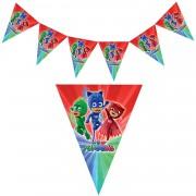 1 Adet Pijamaskeliler Flama, Pj Maskeliler Doğum Günü Bayrak Süs