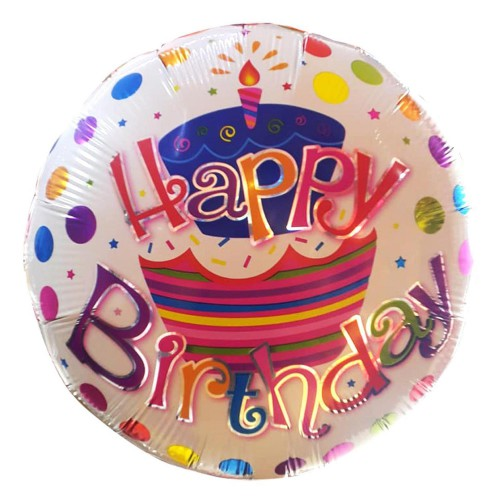 1 Adet Renkli Happy Birthday Helyumla Uçan Yuvarlak Folyo Balon