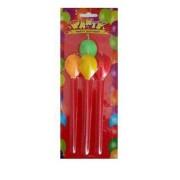 1 Adet Renkli Uzun Çubuklu Balon Şeklinde 4lü  Mum