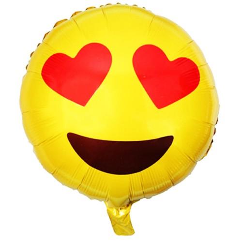 1 Adet Sarı 45cm Boyutunda Gözü Kalpli Emoji Folyo Balon
