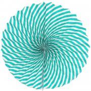 1 Adet Açık Mavi Çizgili Beyaz Yelpaze Şeklinde Ponpon Süs 40cm