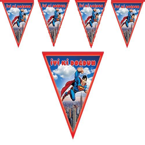 1 Adet Superman Bayrak Flama, 2m Doğum Günü Parti Malzemesi