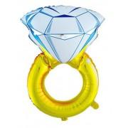 1 Adet Tektaş Yüzük Folyo Balon Helyumla Uçan Evlilik Teklifi