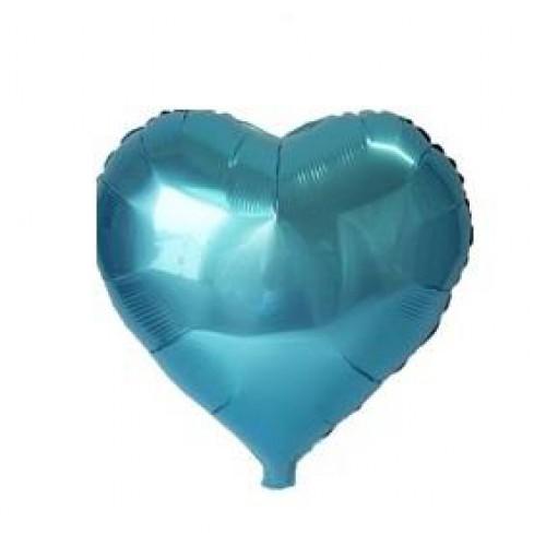 1 Adet Turkuaz (Mavi) Kalp Folyo Balon 45x45cm