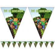 1 Ad Yeşil 10 Bayraklı Minecraft Flama Erkek Doğum Günü Malzemesi