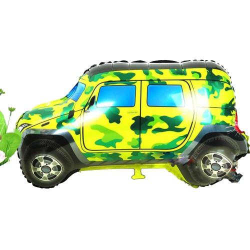 1 Adet Yeşil Sarı Arazi Aracı Araba Folyo Balon Helyumla Uçan