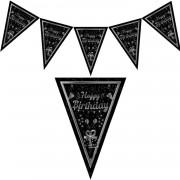 1 Adet Siyah Happy Birthday Yetişkin 1.9m Parti Flaması