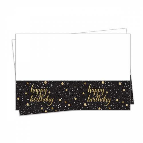 1 Adet Yetişkin Siyah Gold Happy Birthday Masa Örtüsü (120cmx180cm)