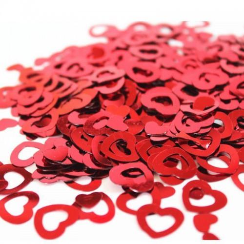 1 Paket Kırmızı Kalp Şekilli Masa Süsü Konfeti Pulu