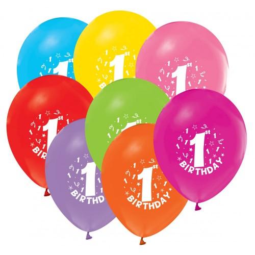 1 Yaş 16lı Baskılı Balon Karışık Renkli Doğum Günü Yazılı Balon