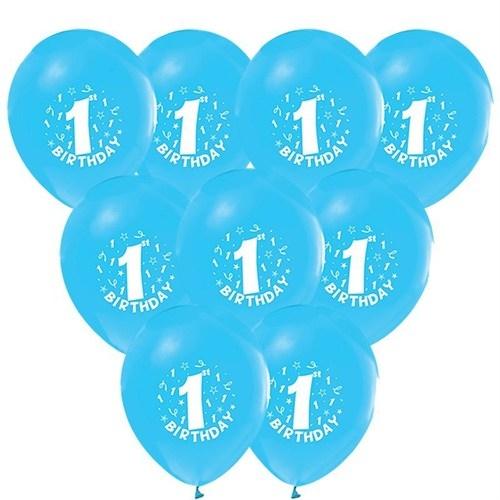 16 Adet Mavi 1 Yaş Balon 1 Yaş Doğum Günü Balonları