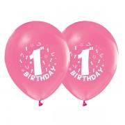 16 Adet Pembe 1 Yaş Balon 1 Yaş Doğum Günü Balonları