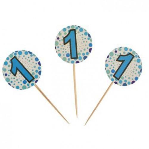 20 Adet 1 Yaş Sunum Kürdanı Mavi Doğum Günü Parti Erkek Ucuz Konsept