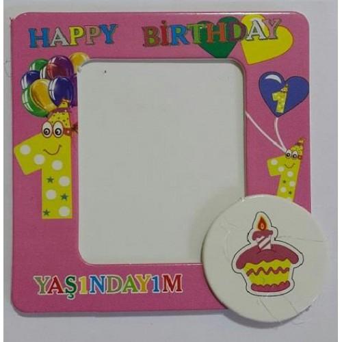 1 Yaş 25li Magnet Çerçeve Pembe Doğum Günü Parti Kız Çocuk