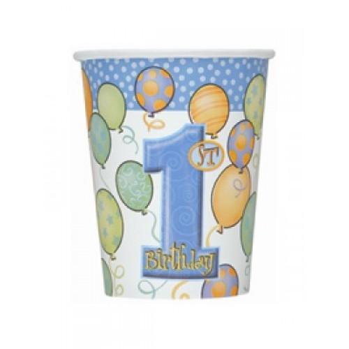 8 Adet 1 Yaş  Bardak 200ml Mavi Doğum Günü Parti Ucuz