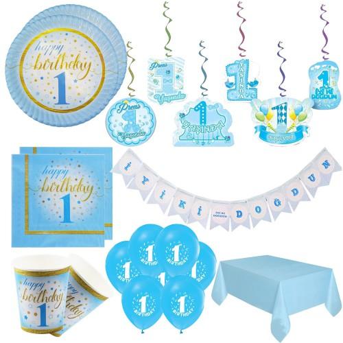 1 Yaş Doğum Günü Mavi Erkek Konsept Masa Ve Ev Süsleme Parti Seti