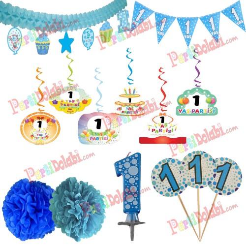1 Yaş Erkek Doğum Günü Partisi Süslemeleri Seti