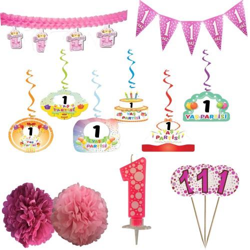 1 Yaş Kız Doğum Günü Partisi Süslemeleri Seti
