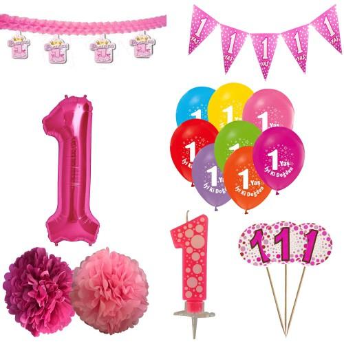 1 Yaş Kız Doğum Günü Süsleri Paketi