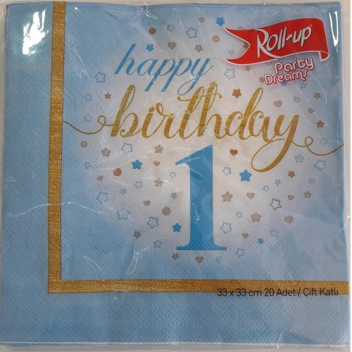 1 Yaş Mavi 8 Adet Yıldızlı Happy Birthday Peçete Parti Peçetesi