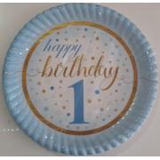 1 Yaş Mavi 8 Adet Yıldızlı Happy Birthday Tabak Parti Tabağı
