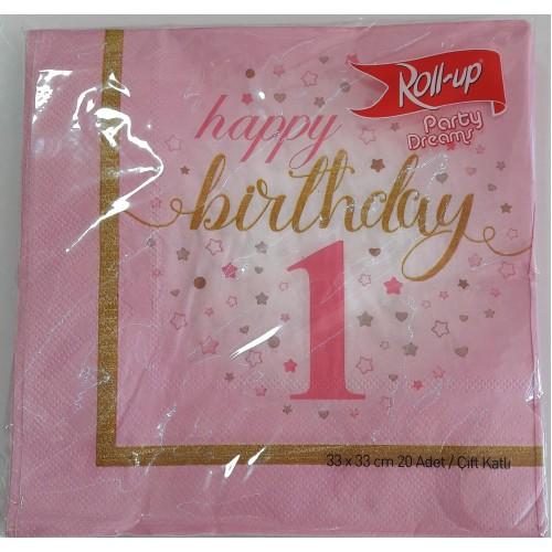 1 Yaş Pembe 20 Adet Yıldızlı Happy Birthday Peçete Parti Peçetesi