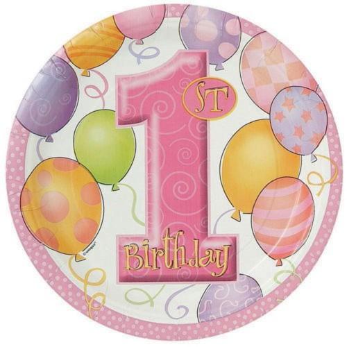 8 Adet Pembe 1 Yaş Doğum Günü Parti Tabağı, İlk Yaş Günü Konsepti