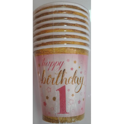 1 Yaş Pembe 8 Adet Yıldızlı Happy Birthday Bardak Parti Bardağı