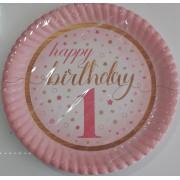 1 Yaş Pembe 8 Adet Yıldızlı Happy Birthday Tabak Parti Tabağı